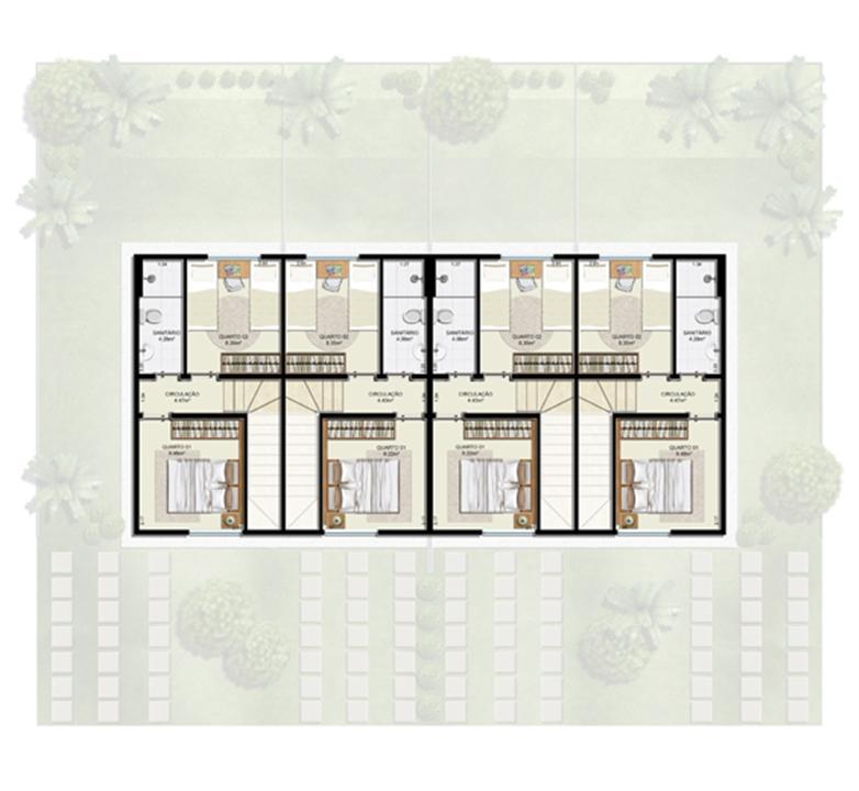 Planta 2 quartos - 1º pavimento - 55 m² - Casa Quádrupla | Casas do Bosque – Casano  Cají - Lauro de Freitas - Bahia