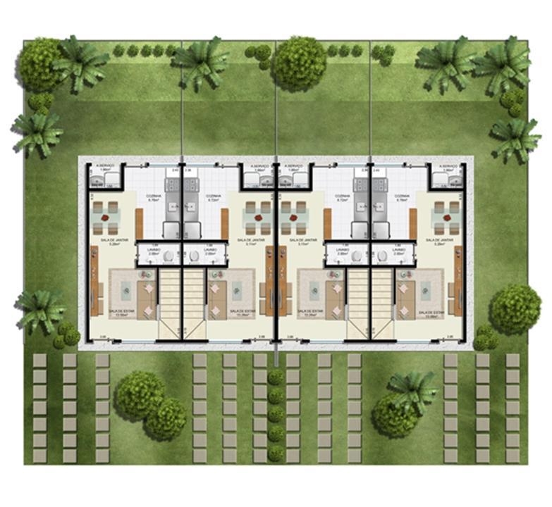 Planta 2 quartos - Térreo - 55 m² - Casa Quádrupla | Casas do Bosque – Casano  Cají - Lauro de Freitas - Bahia