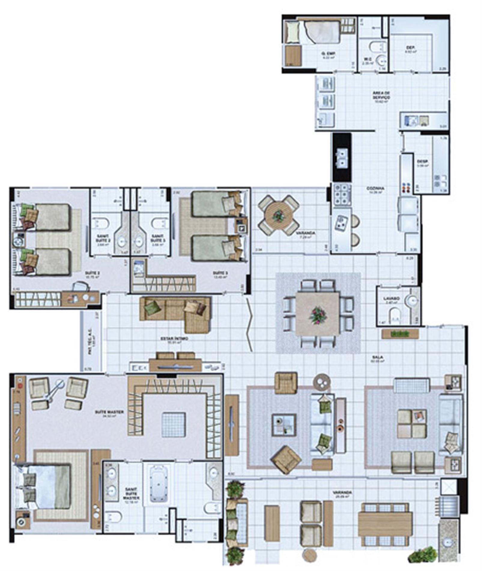 Planta Opção 243,45 m² | Le Parc Salvador – Apartamentona  Av. Paralela - Salvador - Bahia