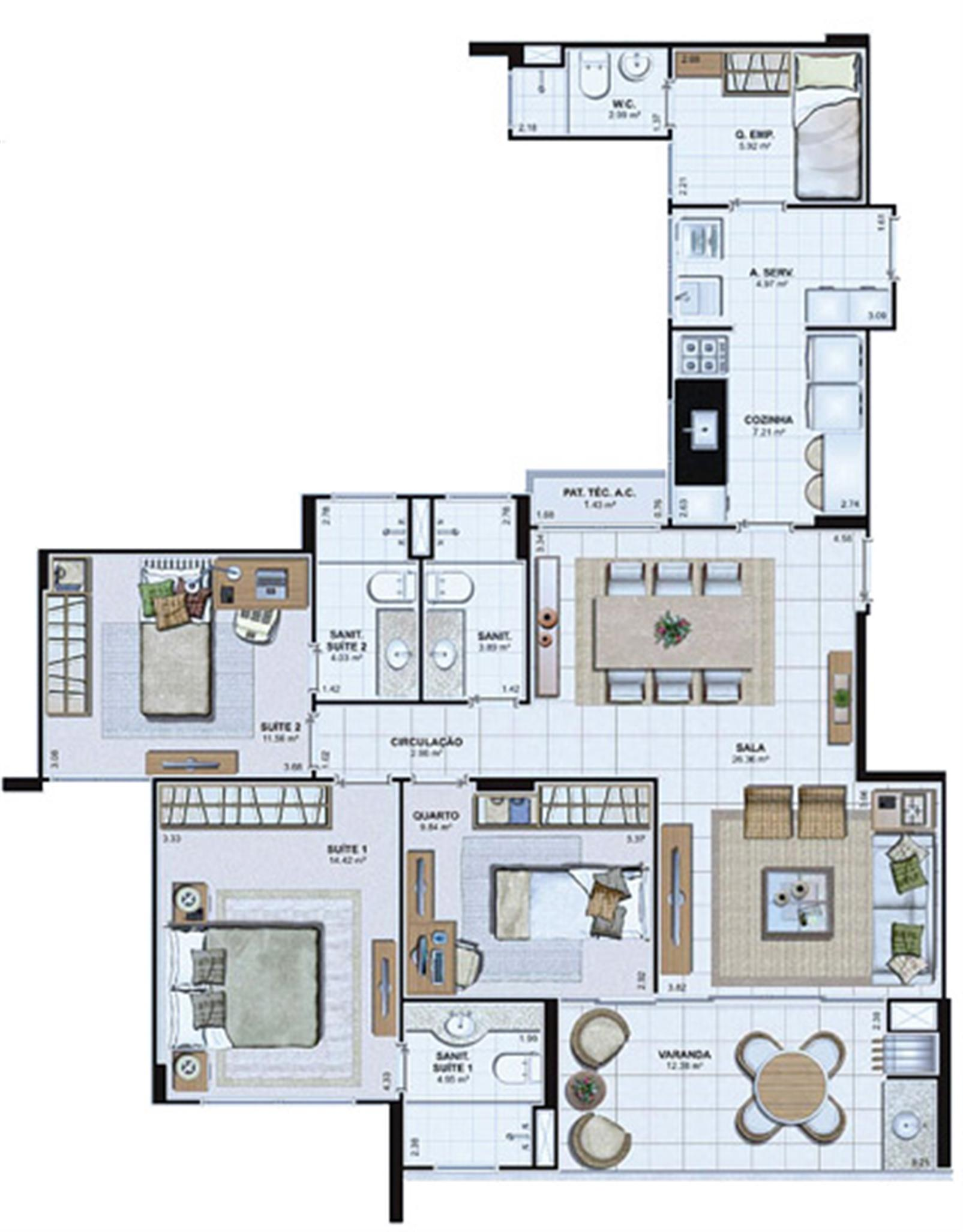 Planta Tipo 112,91 m² | Le Parc Salvador – Apartamentona  Av. Paralela - Salvador - Bahia