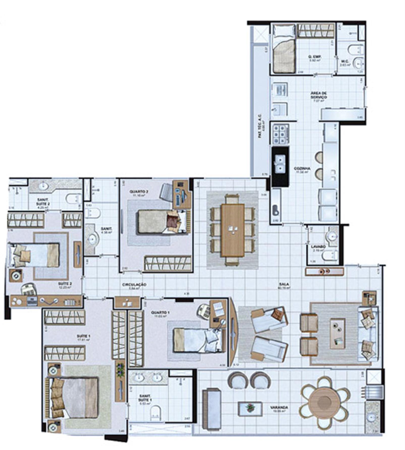Planta Tipo 166,18 m² | Le Parc Salvador – Apartamentona  Av. Paralela - Salvador - Bahia