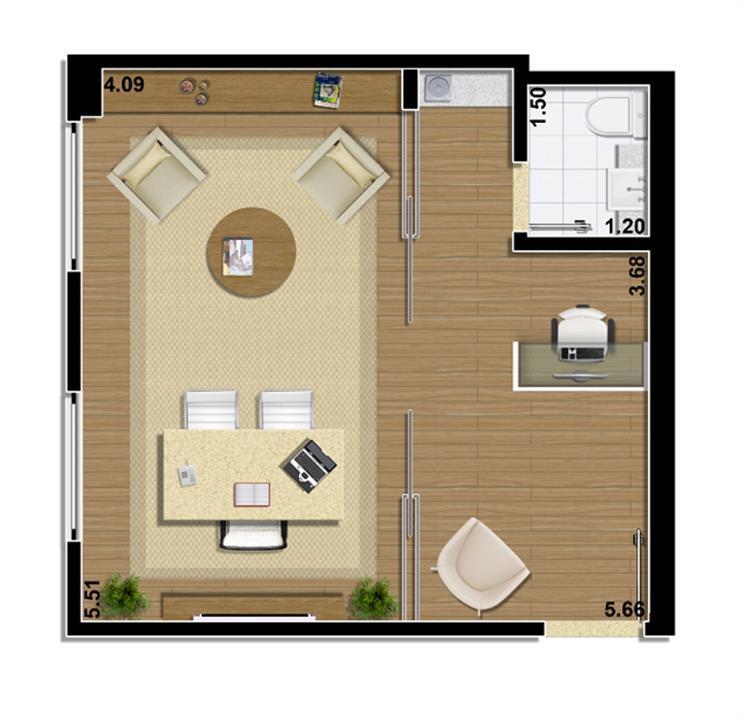 Planta Sala comercial 34 m² | Mirai – Salas Comerciaisem  Umarizal  - Belém - Pará