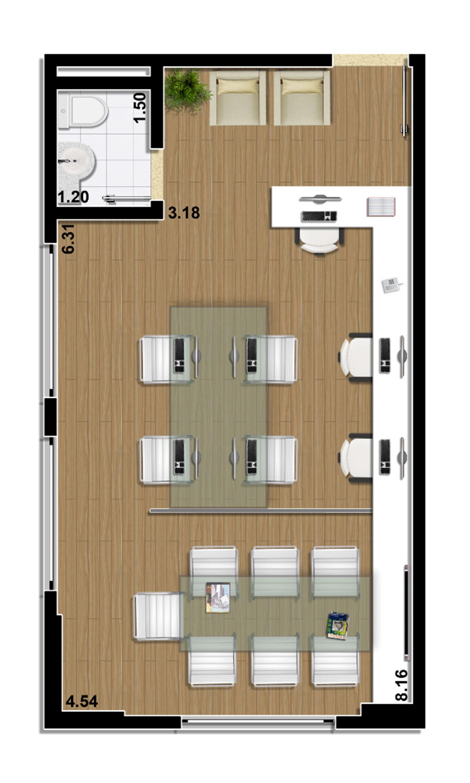 Planta Sala comercial 41 m² | Mirai – Salas Comerciaisem  Umarizal  - Belém - Pará
