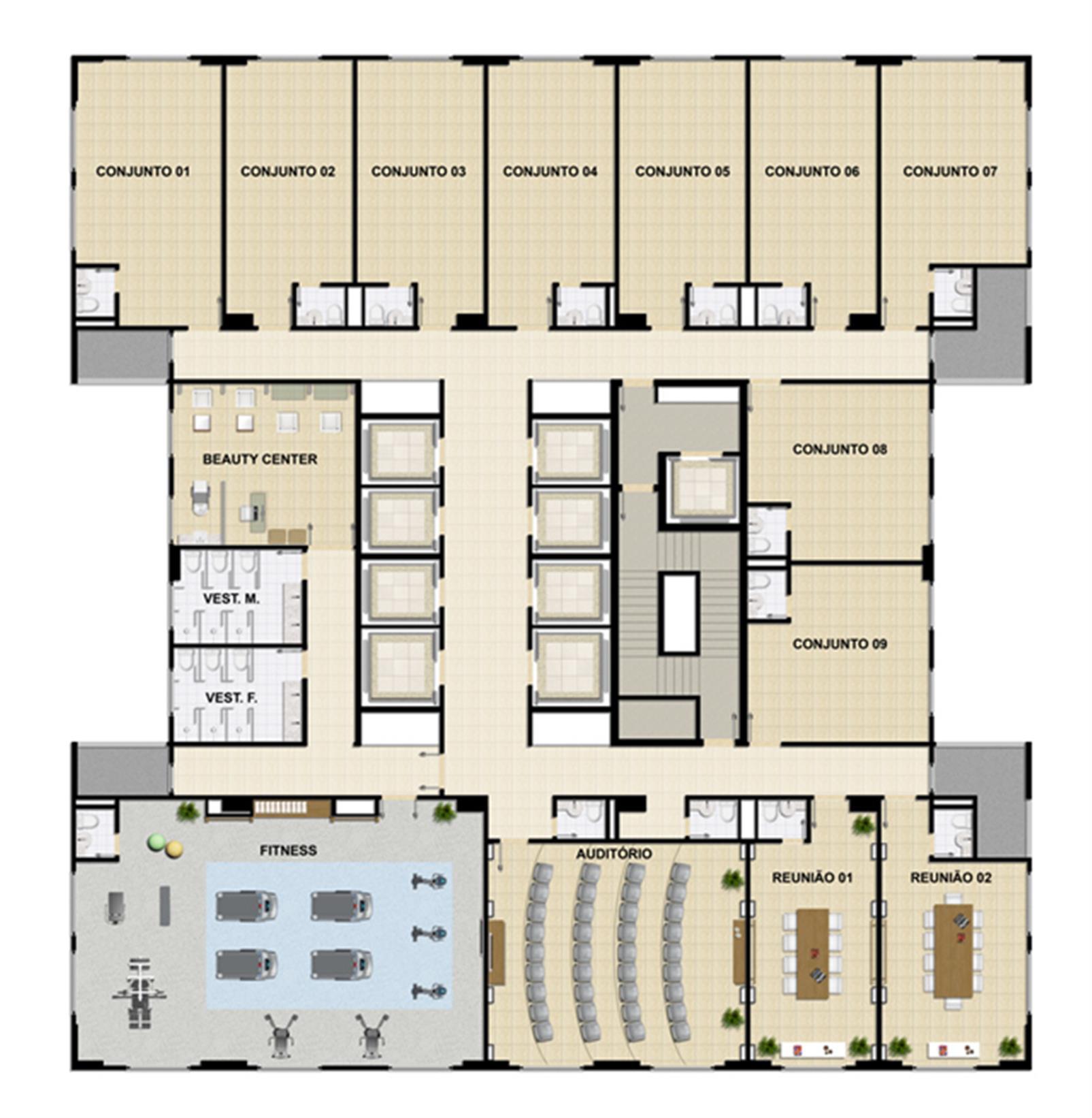 Planta Tipo 1º pavimento   Opção sala em formato Auditório | Mirai – Salas Comerciaisem  Umarizal  - Belém - Pará