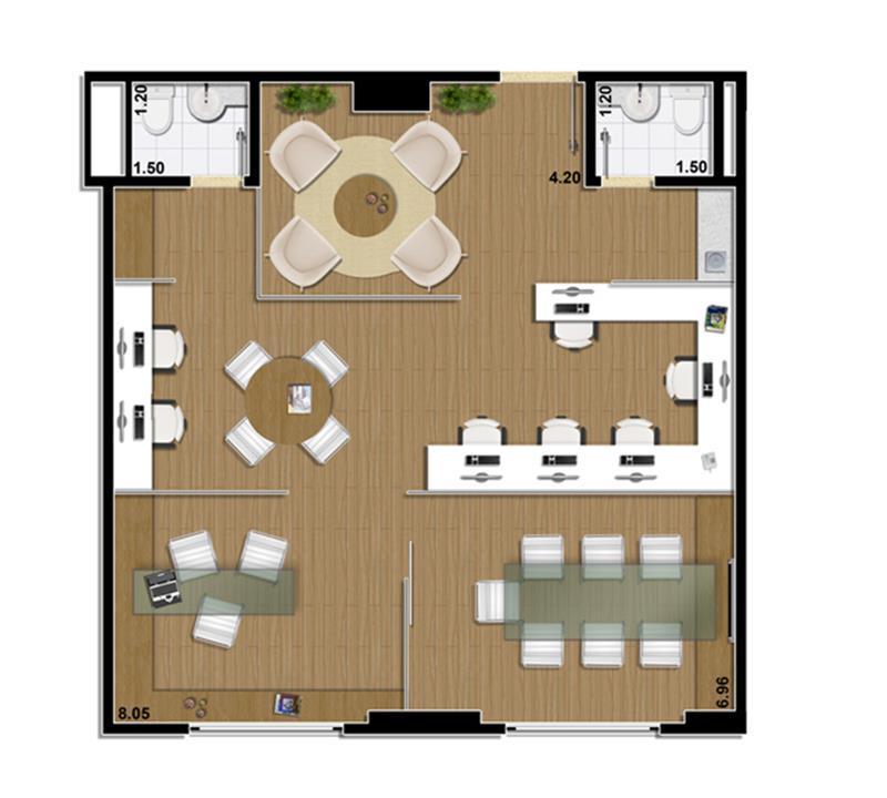 Sugestão de planta sala comercial 70 m²   junção de 2 salas | Mirai – Salas Comerciaisem  Umarizal  - Belém - Pará
