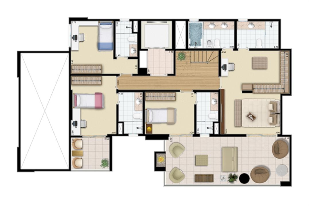Cobertura duplex (piso inferior) 4 suítes 321 m²  | Praça das Águas – Apartamentono  Tatuapé - São Paulo - São Paulo
