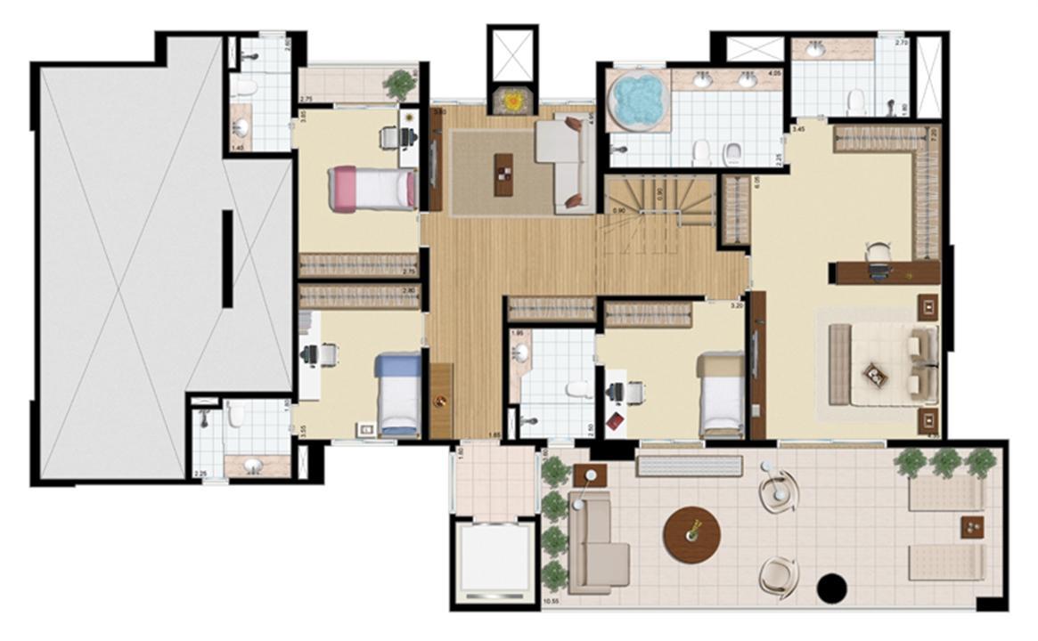Cobertura duplex (piso inferior) 4 suítes 430 m² | Praça das Águas – Apartamentono  Tatuapé - São Paulo - São Paulo