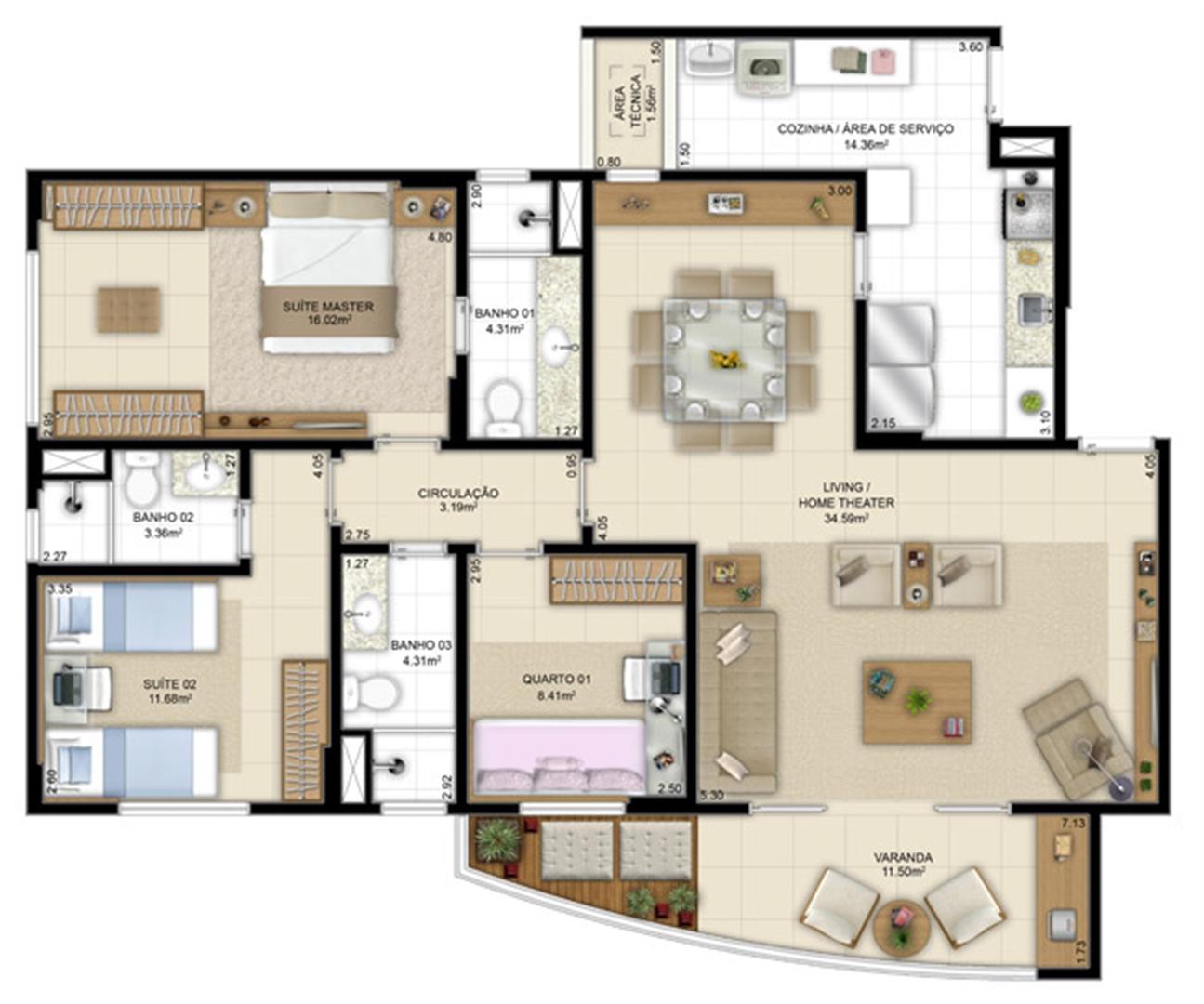 Planta opção com living ampliado 113m²   Jardim de Andaluzia – Apartamento em  Altos do Calhau - São Luís - Maranhão