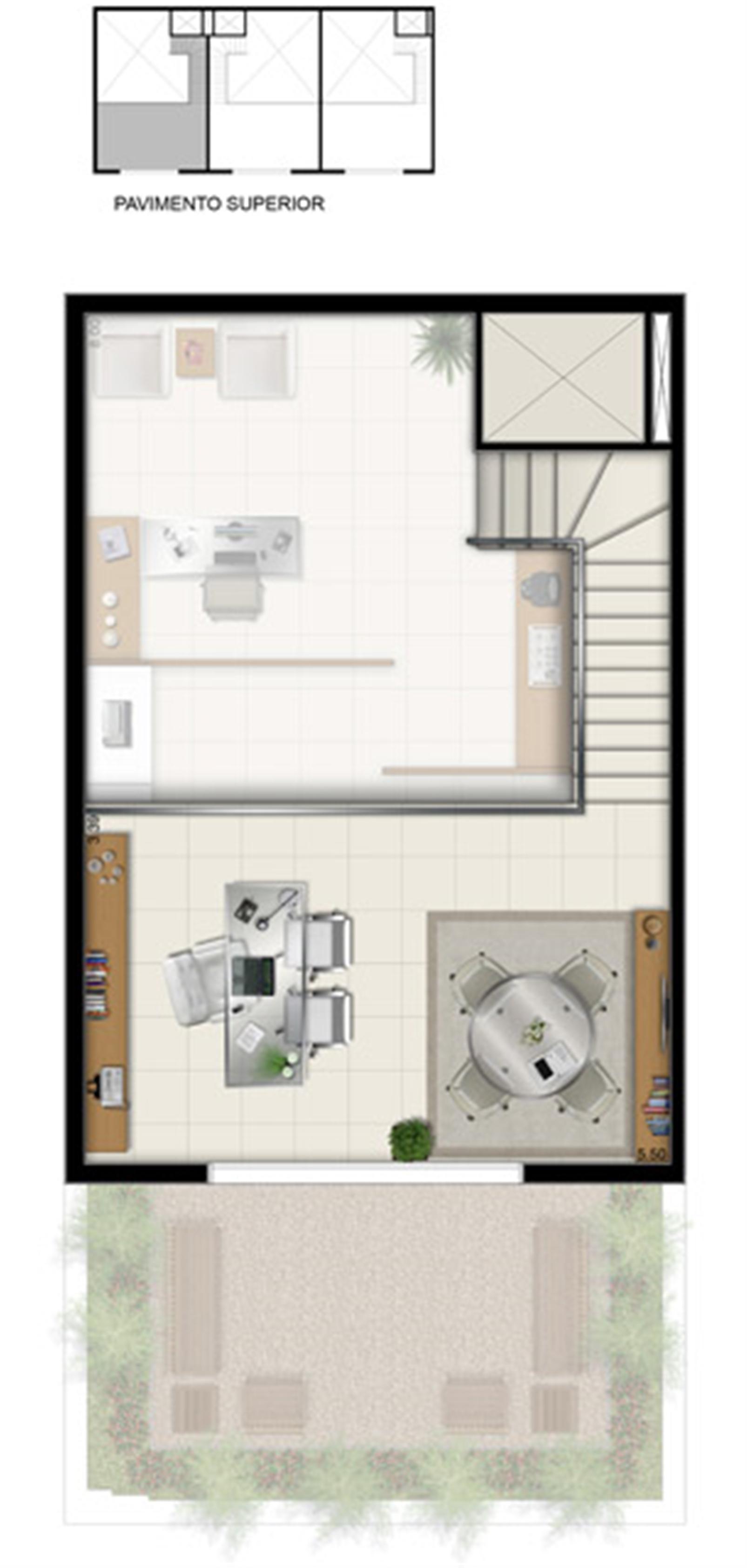 Duplex Superior - Área total 84,50 m² | Pátio Jardins – Salas Comerciaisem  Altos do Calhau - São Luís - Maranhão