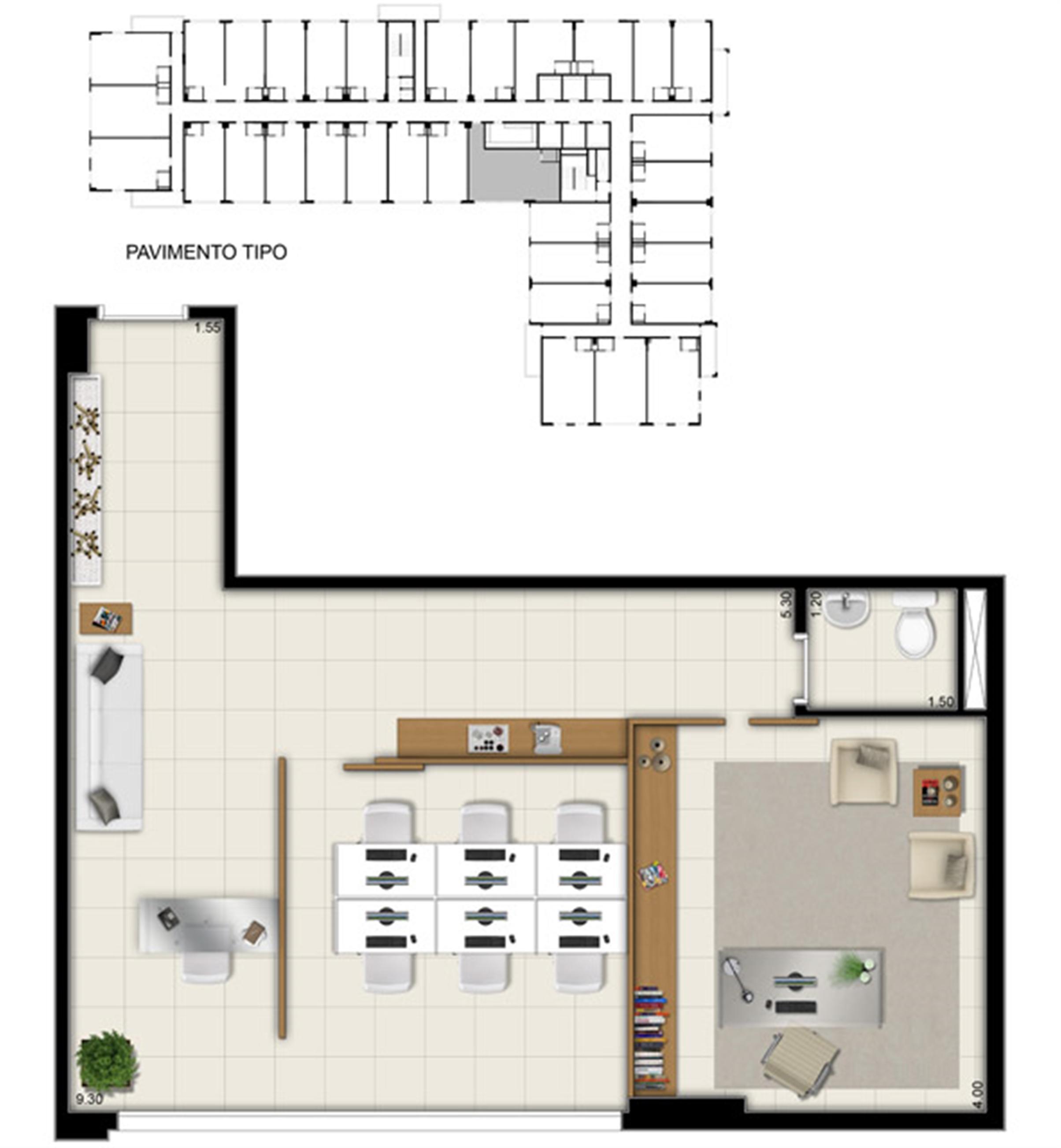 Planta da sala comercial de 58 m² | Pátio Jardins – Salas Comerciais em  Altos do Calhau - São Luís - Maranhão