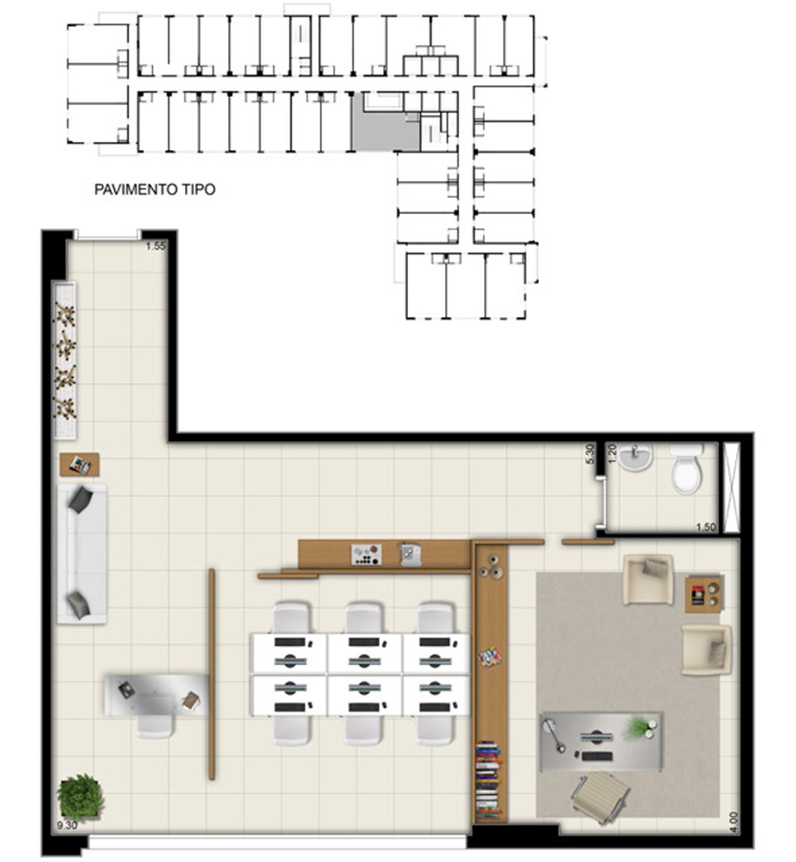 Planta da sala comercial de 58 m² | Pátio Jardins – Salas Comerciaisem  Altos do Calhau - São Luís - Maranhão