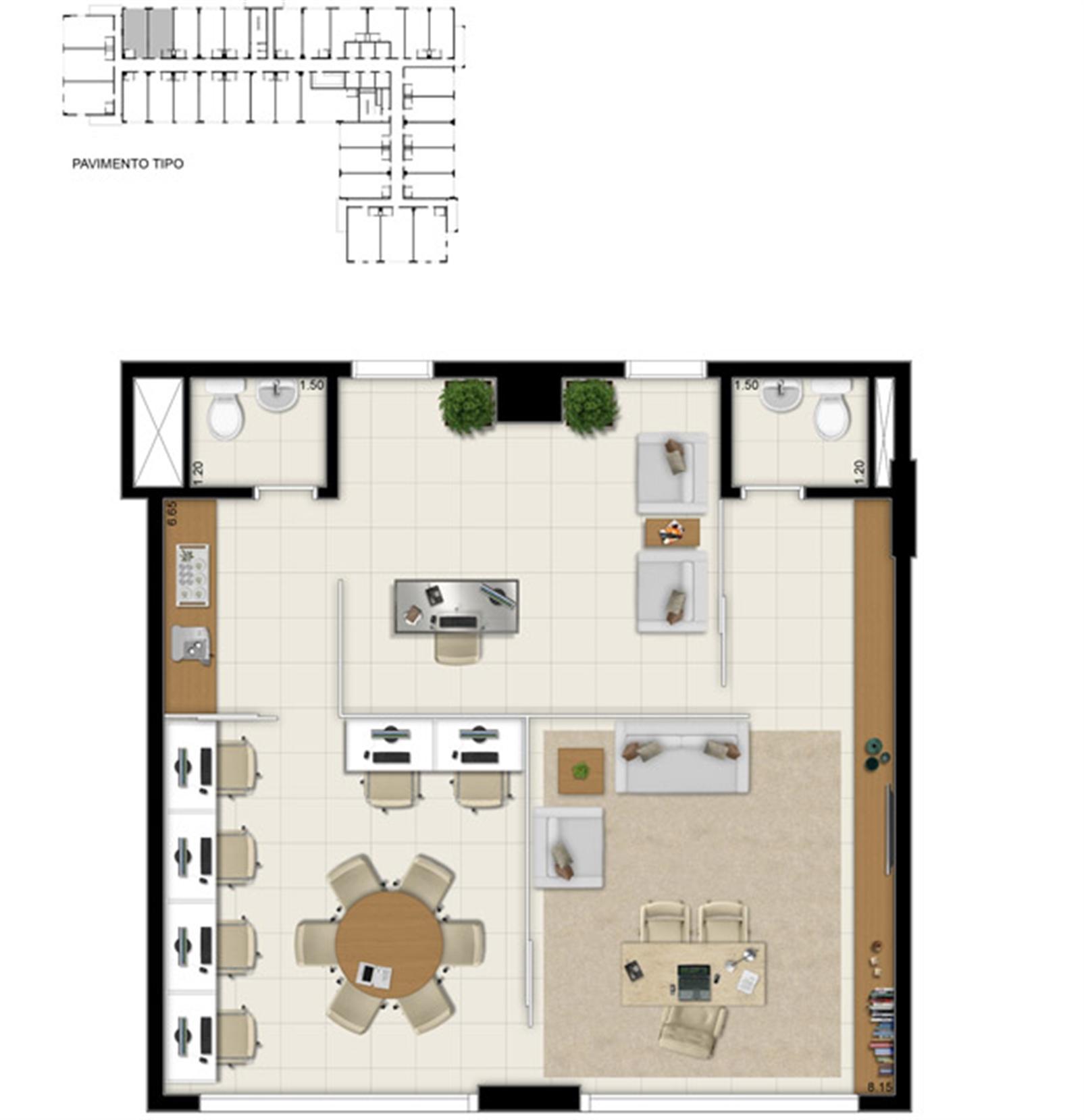 Sala comercial 69,20 m² - Sugestão de junção | Pátio Jardins – Salas Comerciaisem  Altos do Calhau - São Luís - Maranhão