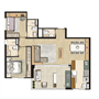 Planta Opção 84m² privativos | Thera Residence – Apartamento na  Berrini - São Paulo - São Paulo