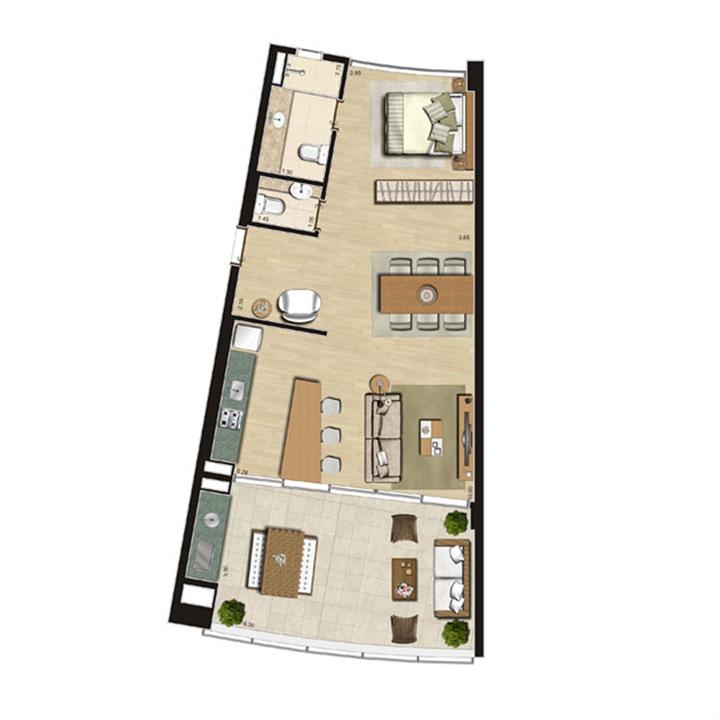 Loft sem mezanino | Thera Residence – Apartamentona  Berrini - São Paulo - São Paulo