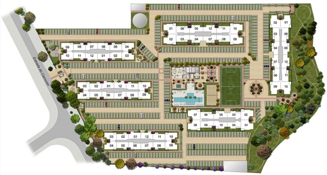 Perspectiva ilustrada da implantação-3 | Floris Bosque Residencial – Apartamentoem  Jacarepaguá - Rio de Janeiro - Rio de Janeiro