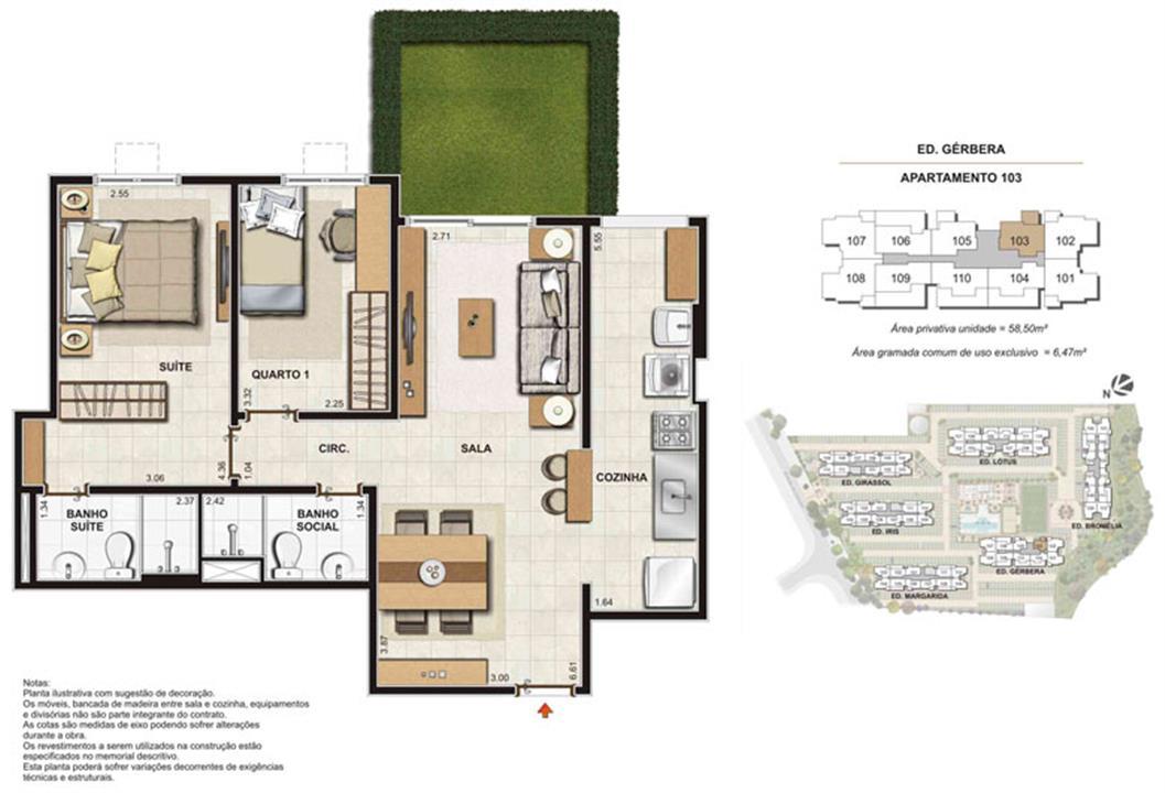 Imagem Planta | Floris Bosque Residencial – Apartamentoem  Jacarepaguá - Rio de Janeiro - Rio de Janeiro