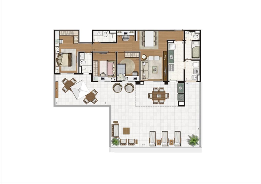 Planta Terrazzo 192 m² | Luzes da Mooca - Villaggio Luna – Apartamentona  Mooca - São Paulo - São Paulo