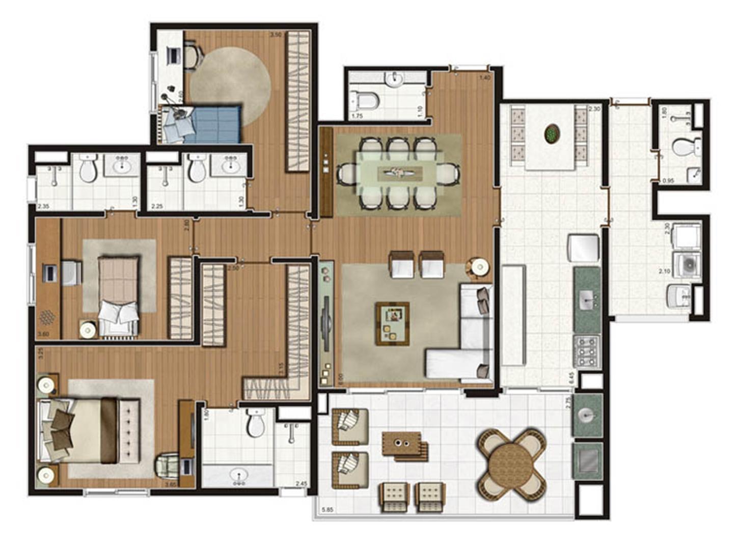 Planta-opção apartamento 141 m² privativos 3 suítes | Luzes da Mooca - Villaggio Luna – Apartamento na  Mooca - São Paulo - São Paulo