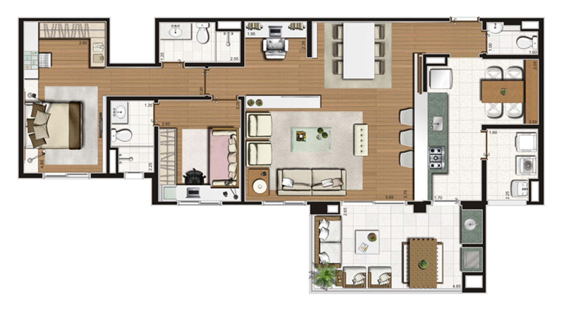 Planta-opção apartamento de 110 m² privativos 2 suítes | Luzes da Mooca - Villaggio Luna – Apartamento na  Mooca - São Paulo - São Paulo