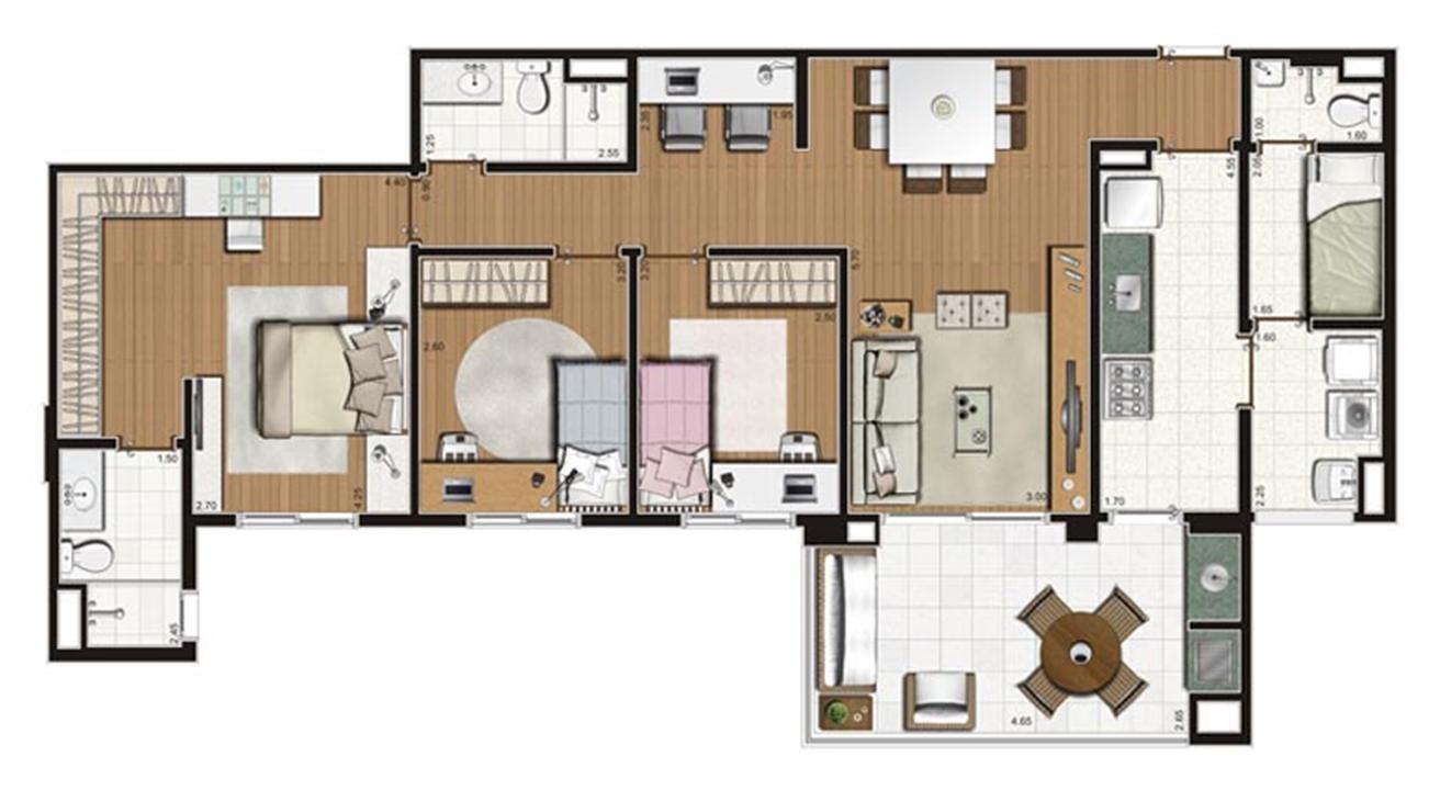 Planta-tipo apartamento de 112 m² privativos 3 dorms (1 suíte) | Luzes da Mooca - Villaggio Luna – Apartamentona  Mooca - São Paulo - São Paulo