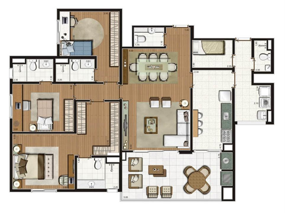 Planta-tipo apartamento de 141 m² privativos 3 suítes | Luzes da Mooca - Villaggio Luna – Apartamentona  Mooca - São Paulo - São Paulo