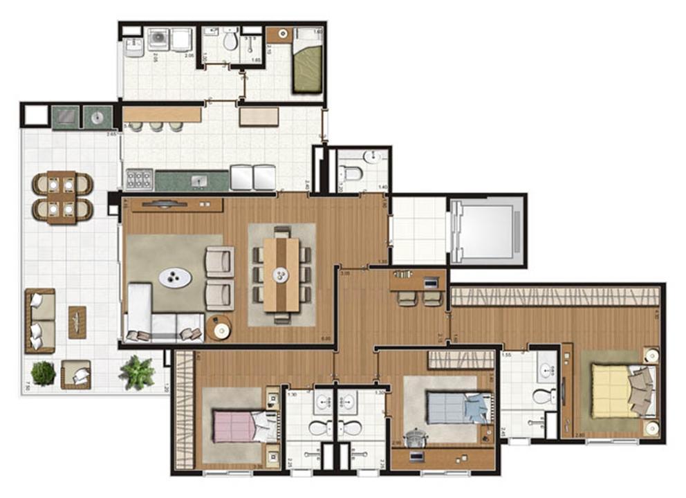 Planta-tipo apartamento de 155 m² privativos 3 suítes | Luzes da Mooca - Villaggio Luna – Apartamentona  Mooca - São Paulo - São Paulo