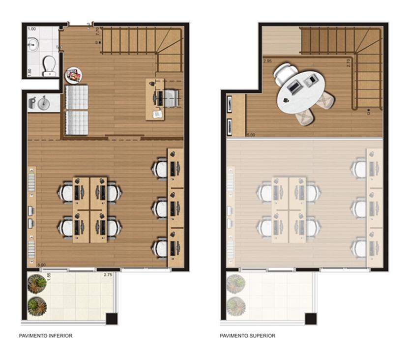 Sala comercial duplex 58 m² privativos – Finais 2 a 4, 7 e 8, 11 a 15, 17 a 23   Luzes da Mooca - Atrio Giorno – Salas Comerciaisna  Mooca - São Paulo - São Paulo