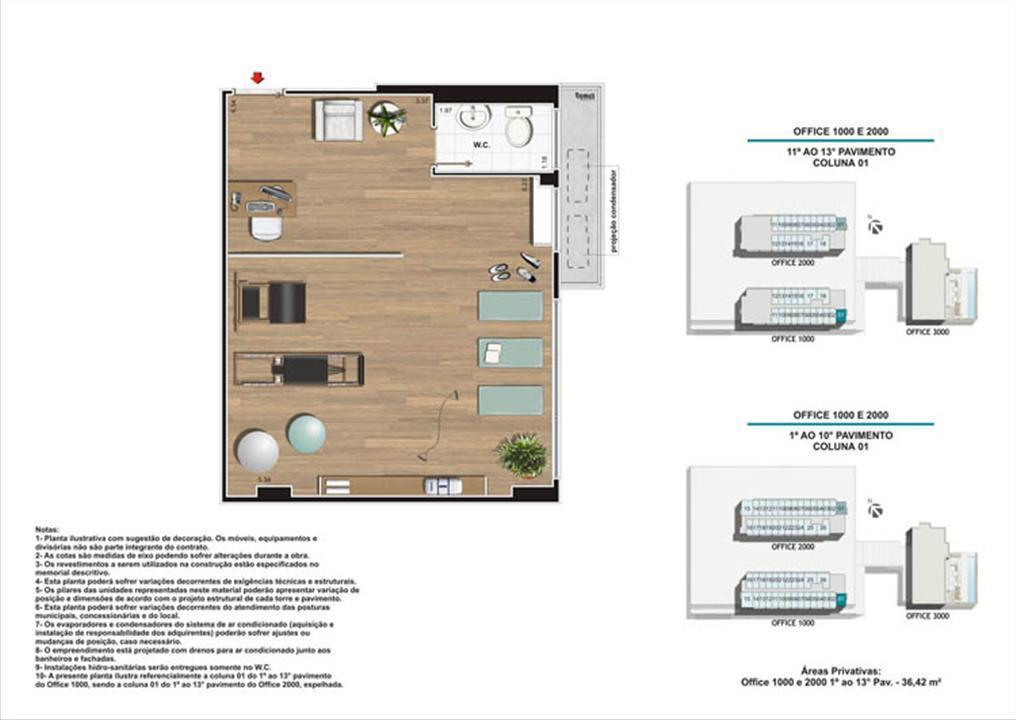 Planta Coluna 01 Torres 1 e 2 | Nova América Offices – Salas Comerciaisno  Nova América - Rio de Janeiro - Rio de Janeiro