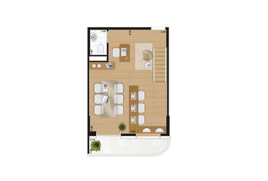 Escritório duplex de 90 m² Pavimento inferior | Wave – Salas Comerciaisem  Valongo - Santos - São Paulo