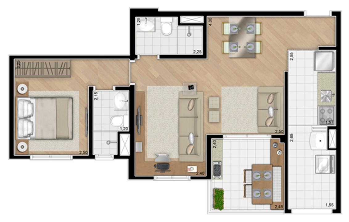 Torre Orquídea. Planta - Opção do apartamento de 59 m² privativos (1 suíte) | Alameda Cotegipe – Apartamentono  Belém - São Paulo - São Paulo