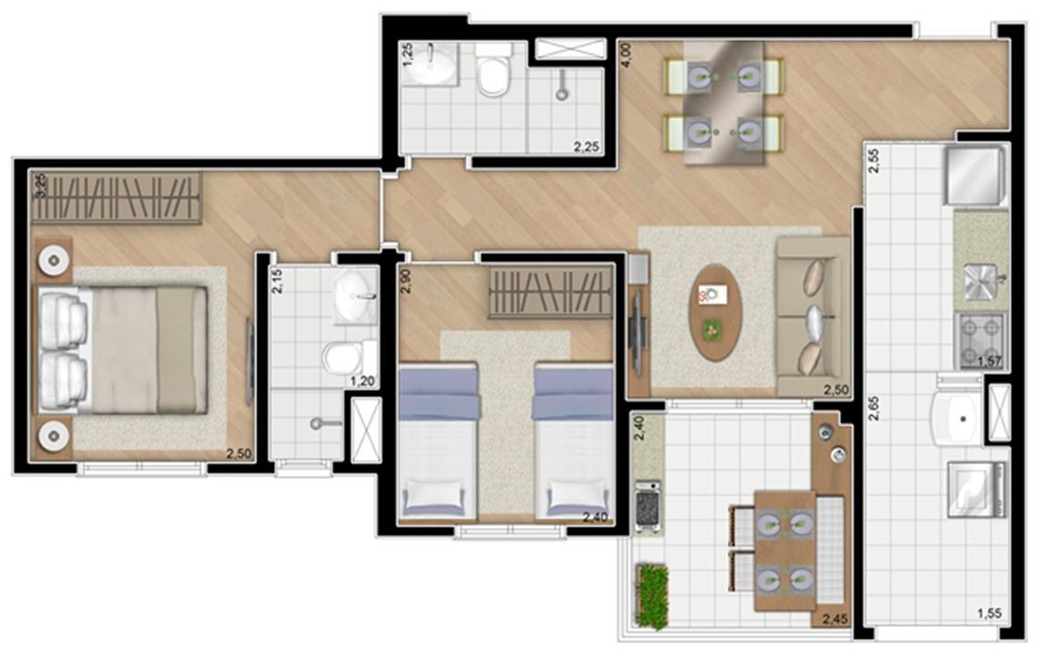 Torre Orquídea. Planta - Tipo do apartamento de 59 m² privativos (1 suíte) | Alameda Cotegipe – Apartamentono  Belém - São Paulo - São Paulo