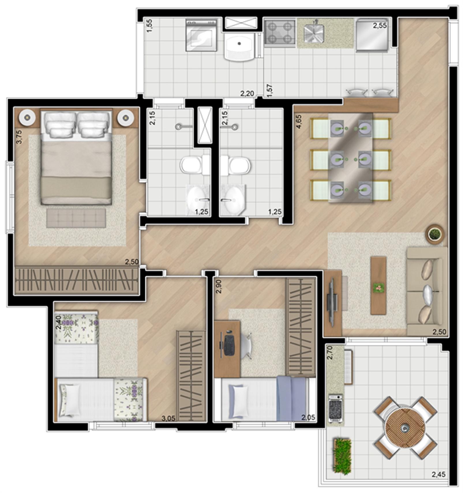 Torre Orquídea. Planta - Tipo do apartamento de 71 m² privativos, 3 dormitórios (1 suíte) | Alameda Cotegipe – Apartamentono  Belém - São Paulo - São Paulo