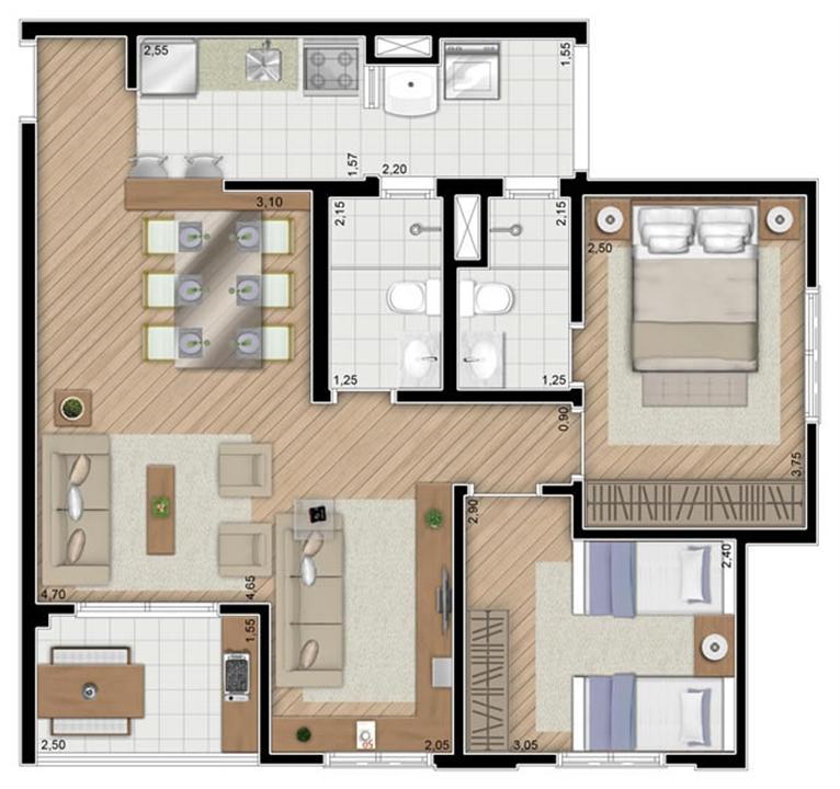 Torre Violeta. Planta - Opção do apartamento de 68 m² privativos, 2 dormitórios (1 suíte). | Alameda Cotegipe – Apartamentono  Belém - São Paulo - São Paulo