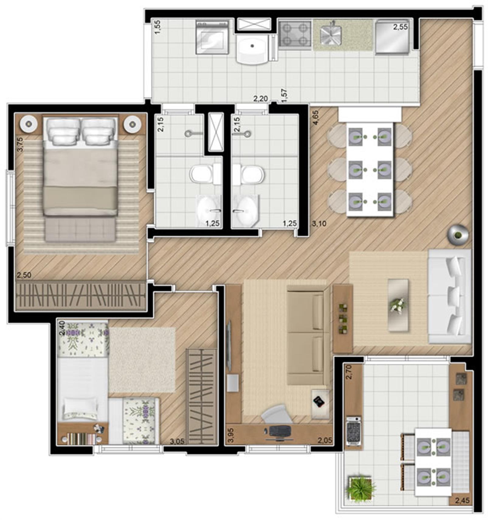 Torre Violeta. Planta - Opção do apartamento de 68 m² privativos, 2 dormitórios (1 suíte) | Alameda Cotegipe – Apartamentono  Belém - São Paulo - São Paulo