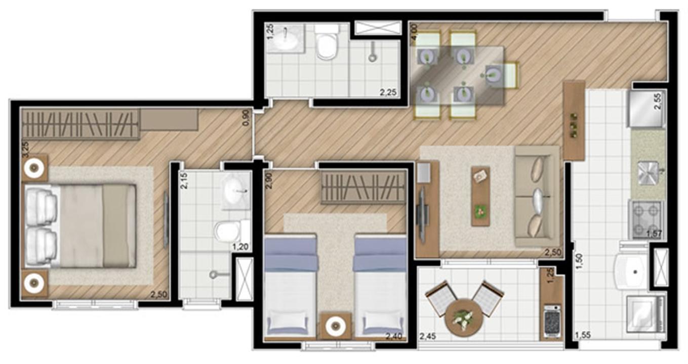 Torre Violeta. Planta - Tipo do apartamento de 54 m² privativos, 2 dorms (1 suíte) | Alameda Cotegipe – Apartamentono  Belém - São Paulo - São Paulo