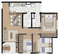 Torre Violeta. Planta - Tipo do apartamento de 68 m² privativos, 3 dormitórios (1 suíte) | Alameda Cotegipe – Apartamento no  Belém - São Paulo - São Paulo