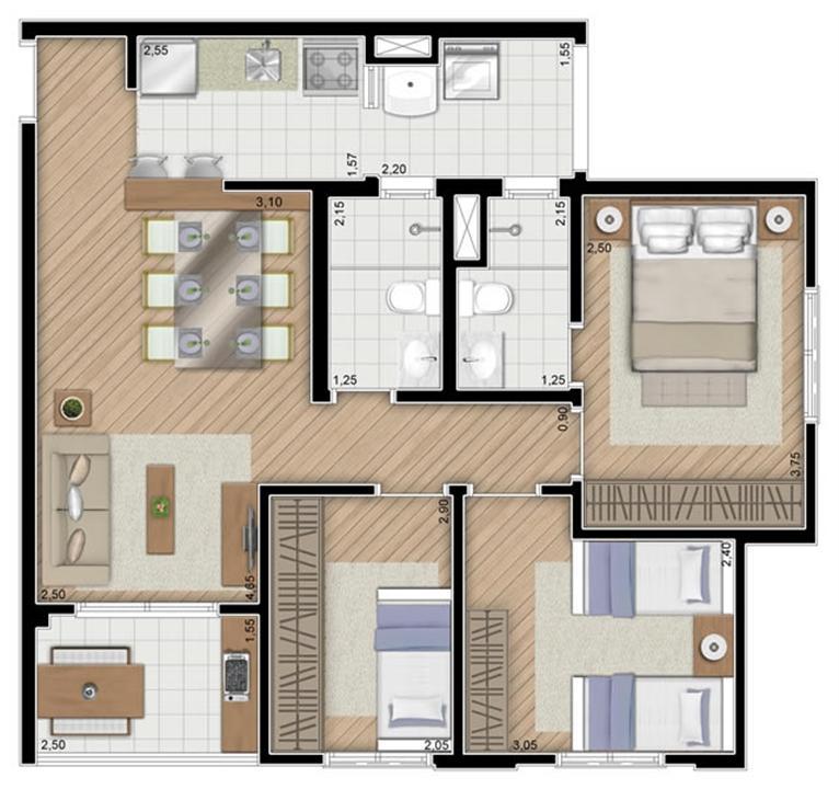 Torre Violeta. Planta - Tipo do apartamento de 68 m² privativos, 3 dormitórios (1 suíte) | Alameda Cotegipe – Apartamentono  Belém - São Paulo - São Paulo
