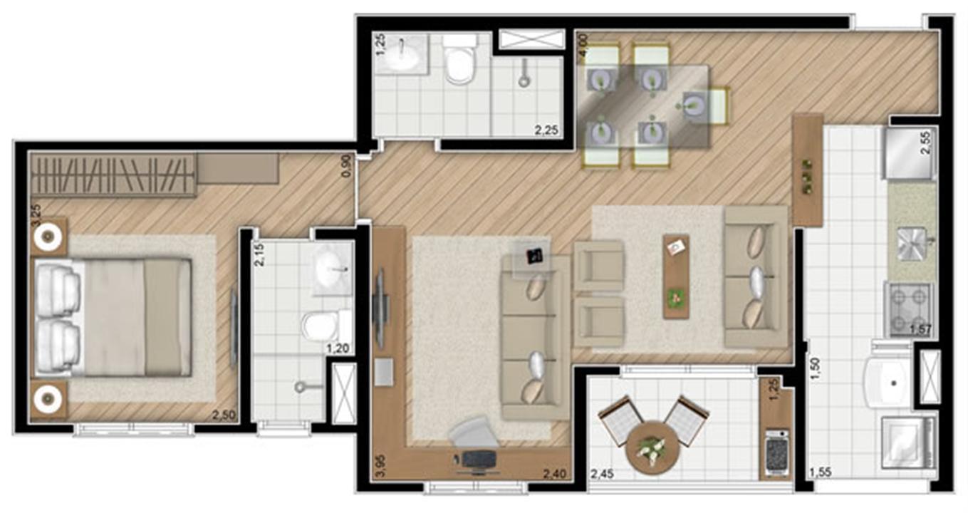 Torre Violeta. Planta - Opção do apartamento de 54 m² privativos (1 suíte) | Alameda Cotegipe – Apartamentono  Belém - São Paulo - São Paulo