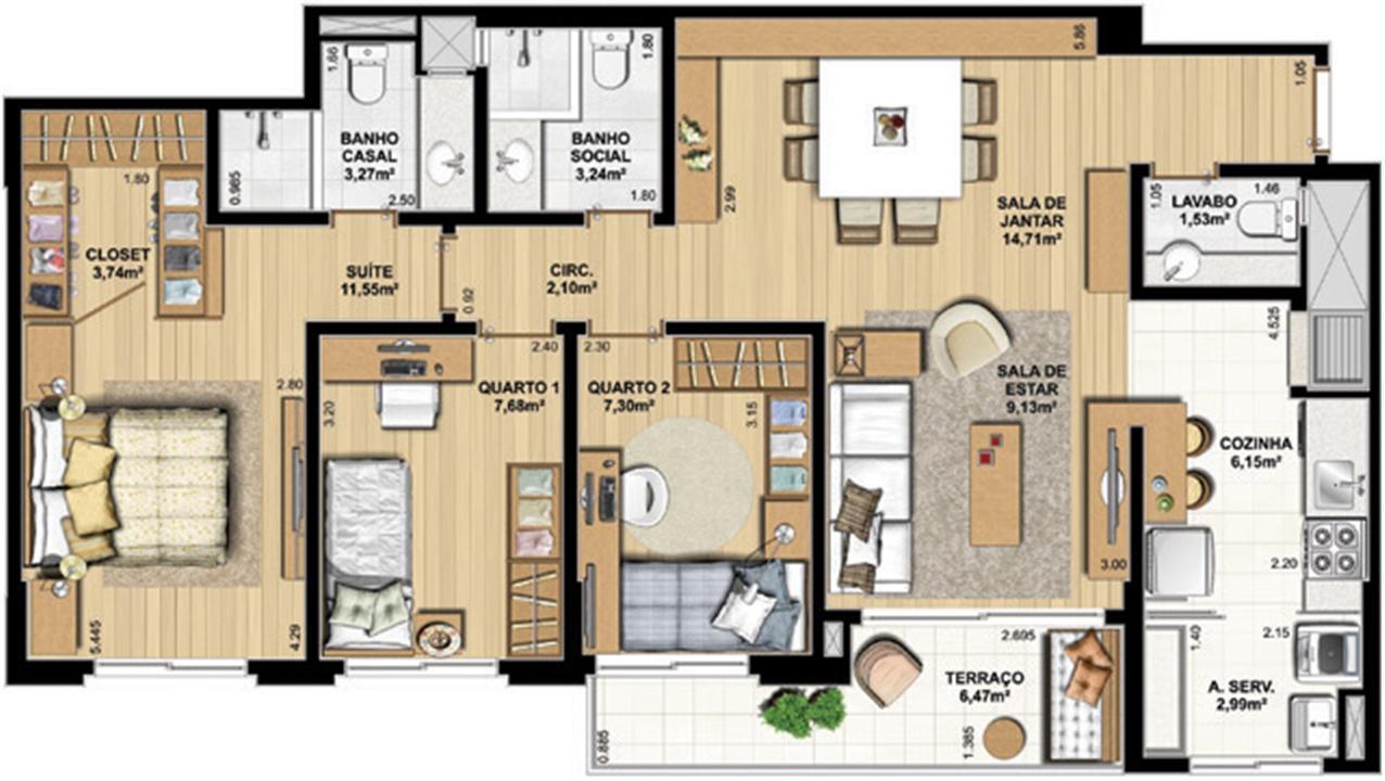 3 Dorm com suíte – 93 m² privativos com até 176 m² | WestSide Comfort Residences – Apartamentono  Vila Izabel  - Curitiba - Paraná