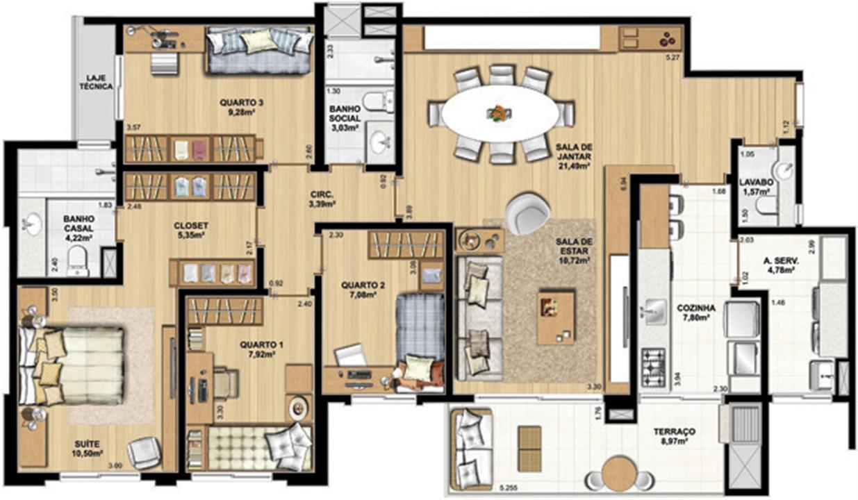 4 Dorm com suíte – 126 m² privativos com até 226 m² | WestSide Comfort Residences – Apartamentono  Vila Izabel  - Curitiba - Paraná