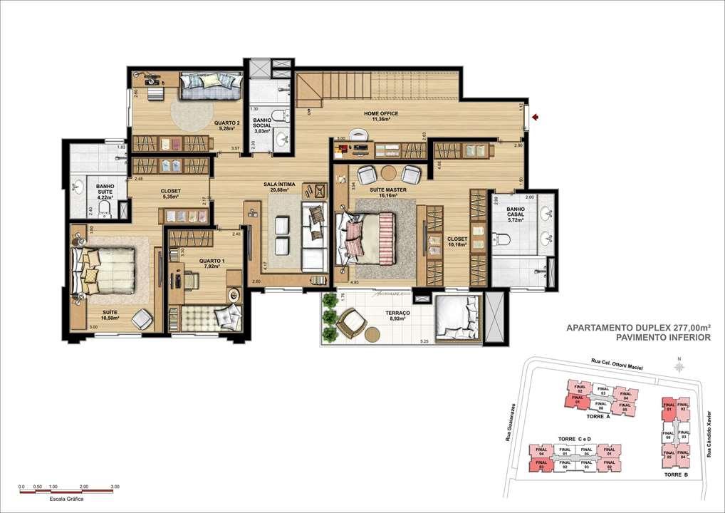 Duplex Inferior | WestSide Comfort Residences – Apartamentono  Vila Izabel  - Curitiba - Paraná