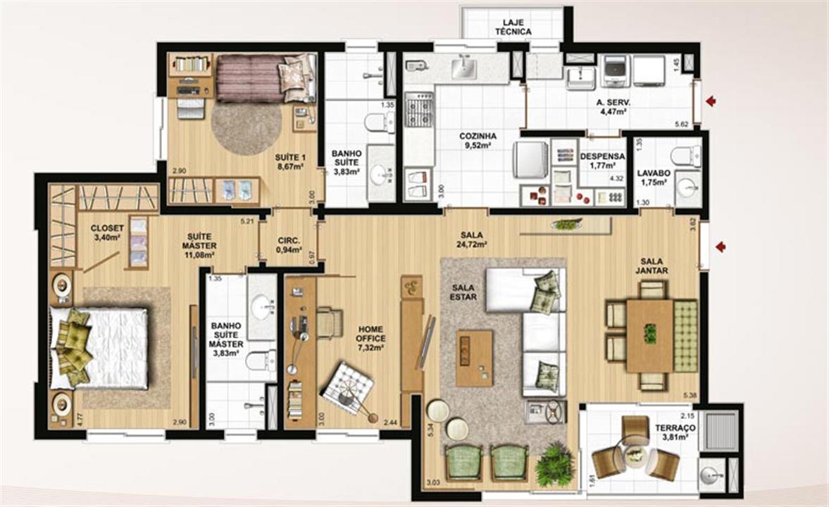 106 m² privativos, 2 suítes, despensa e sala ampliada | Le Jardin Residencial – Apartamentono  Água Verde - Curitiba - Paraná