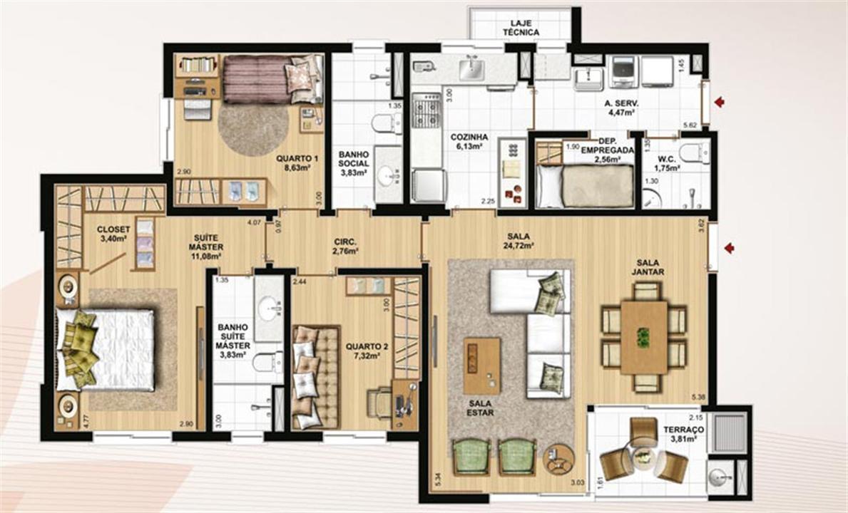 106 m² privativos, 3 dormitórios com WC | Le Jardin Residencial – Apartamentono  Água Verde - Curitiba - Paraná