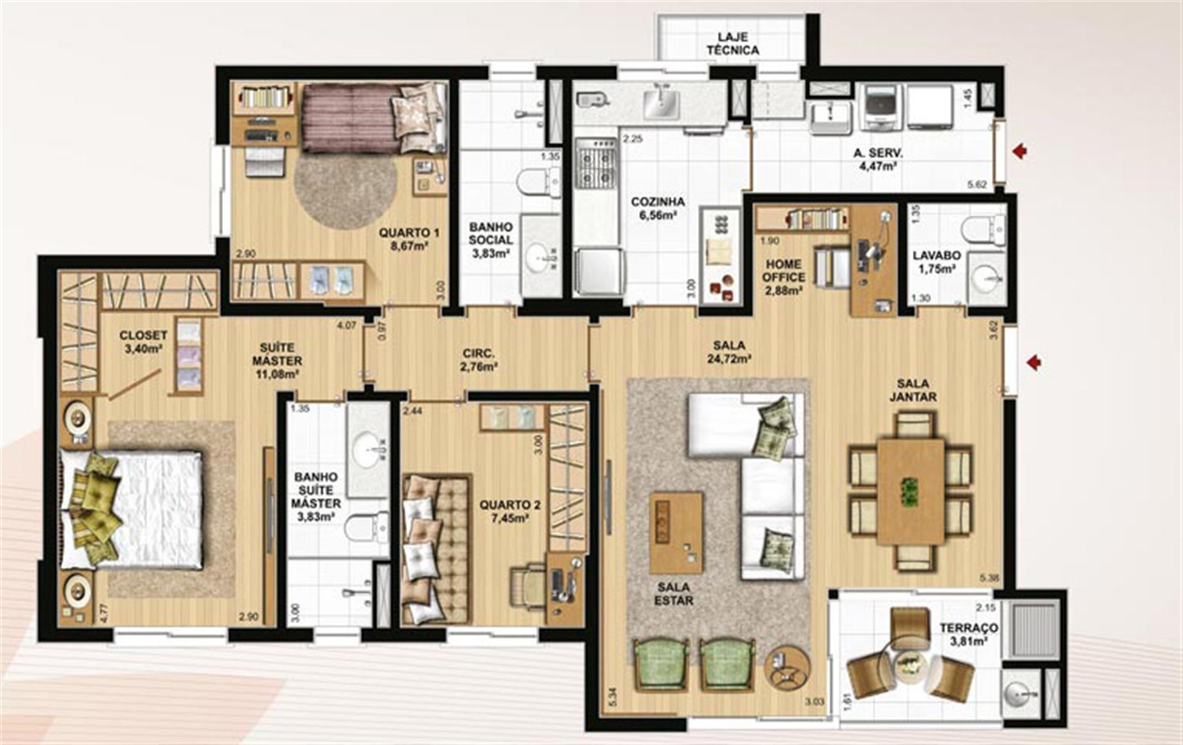 106 m² privativos, 3 dormitórios, lavabo e home office | Le Jardin Residencial – Apartamento no  Água Verde - Curitiba - Paraná