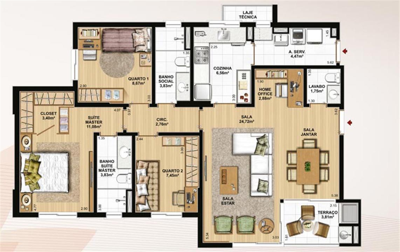 106 m² privativos, 3 dormitórios, lavabo e home office | Le Jardin Residencial – Apartamentono  Água Verde - Curitiba - Paraná