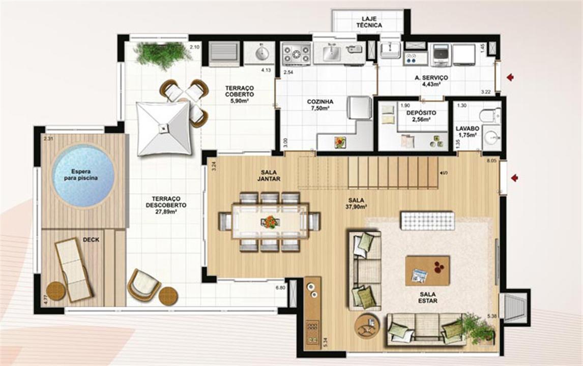 Duplex 174 m² privativos  pavimento inferior | Le Jardin Residencial – Apartamentono  Água Verde - Curitiba - Paraná