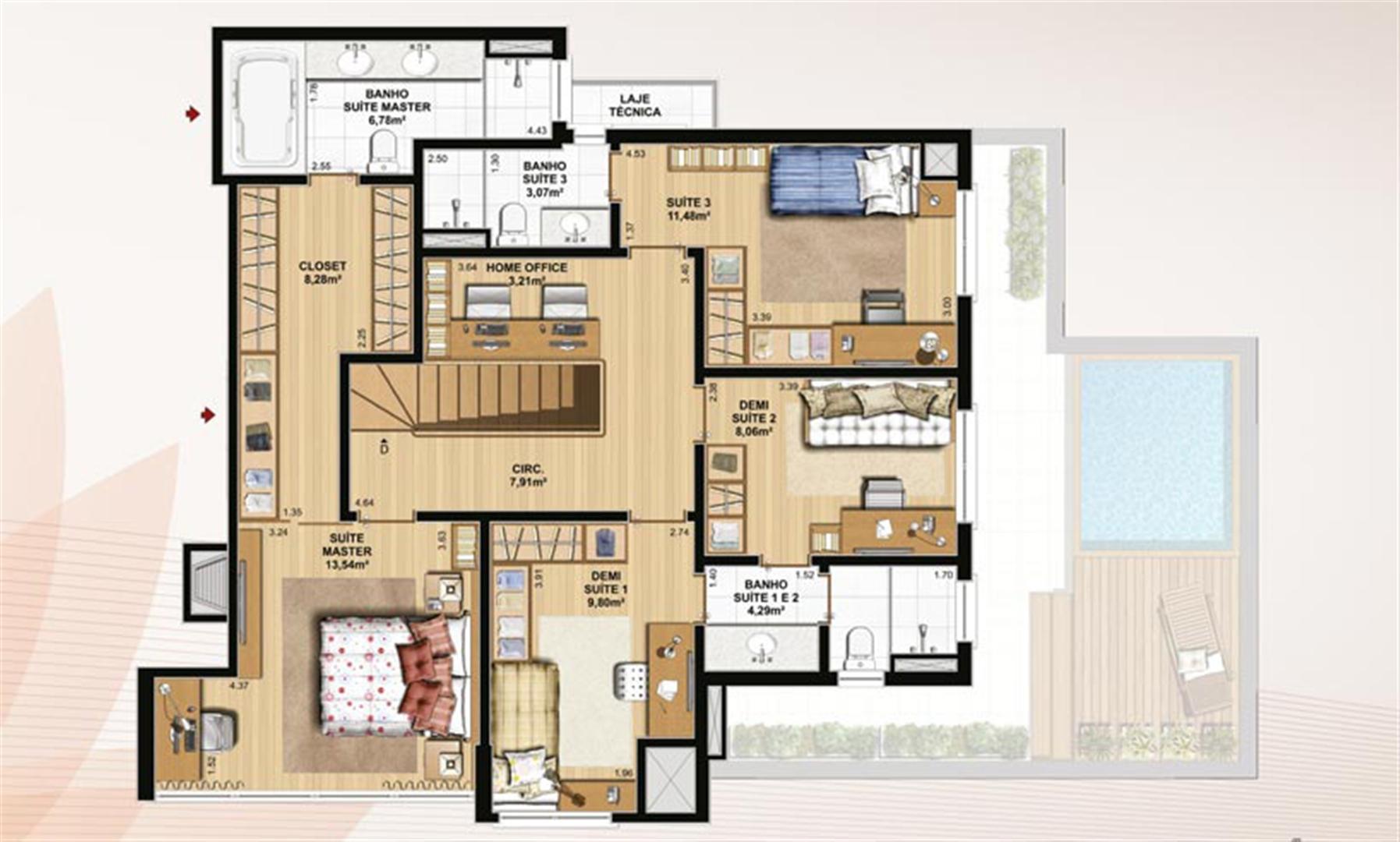 Duplex 226 m² privativos  pavimento superior | Le Jardin Residencial – Apartamento no  Água Verde - Curitiba - Paraná