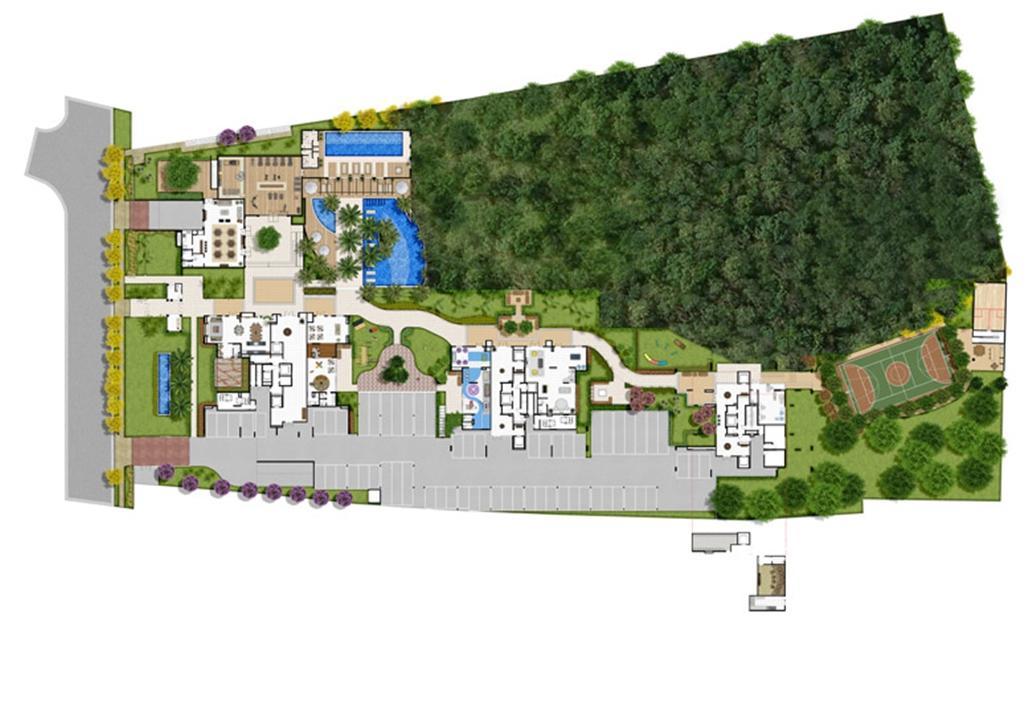 Perspectiva ilustrada da implantação | Le Jardin Residencial – Apartamentono  Água Verde - Curitiba - Paraná