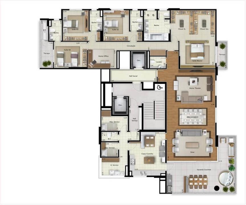 Apartamento Double View 323 m² (ímpar) | Mirage Bay – Apartamentoem  Umarizal  - Belém - Pará