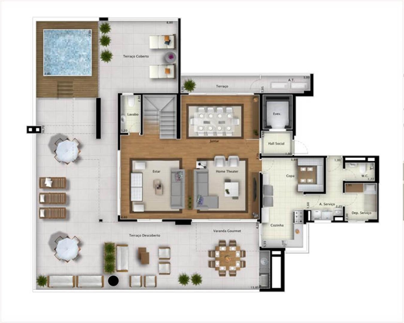 Cobertura Bay View 421 m² (pavimento inferior) | Mirage Bay – Apartamento em  Umarizal  - Belém - Pará